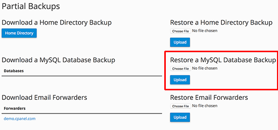 Restoring WordPress Database Backup using cPanel