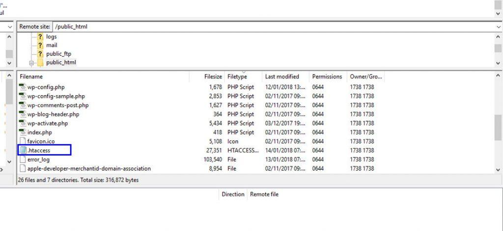 Wordpress Corrupt htaaccess File